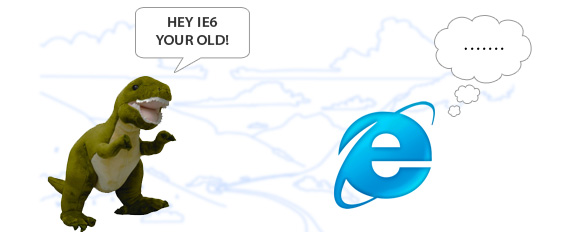 T-Rex calling an IE logo old