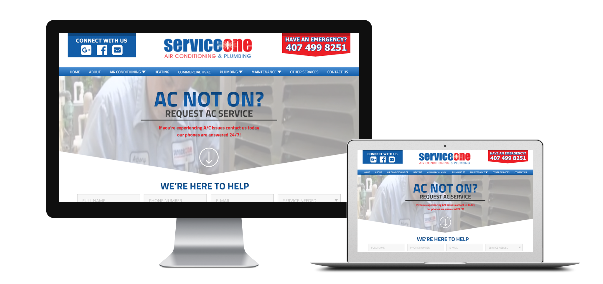 ServiceOne AC responsive screenshot
