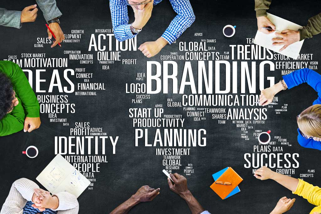 Diverse people discussing about Branding