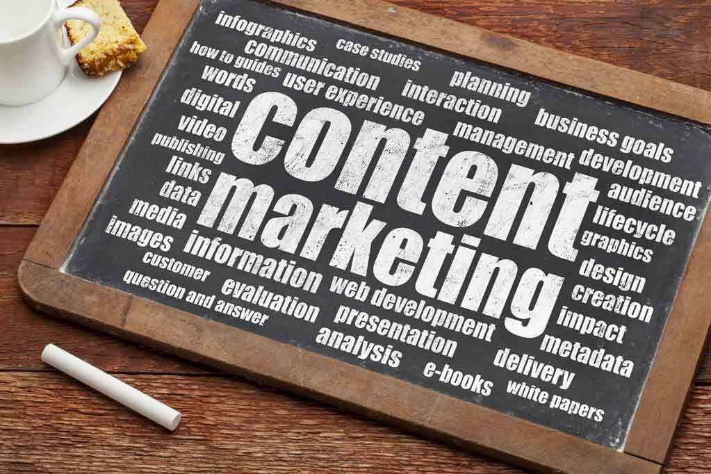 Content Marketing written on a blackboard