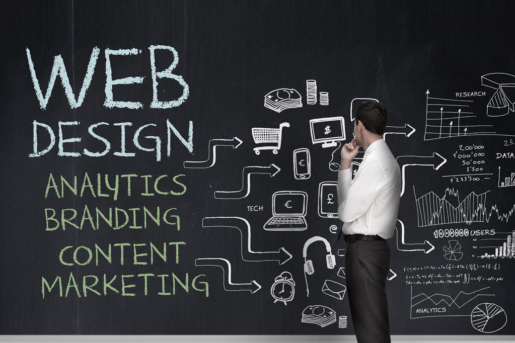 Web designer analyzing design project