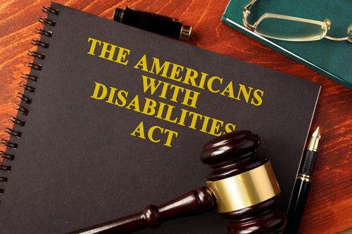 The Americans with Disabilities Act with book and gavel