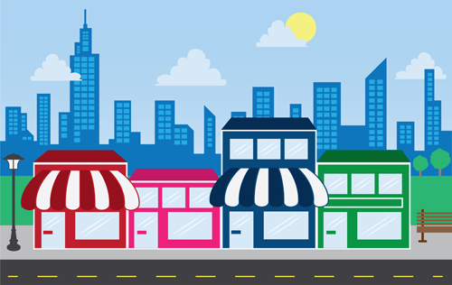 Colorful illustrated storefronts