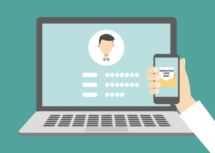 User logging in with two-factor authentication