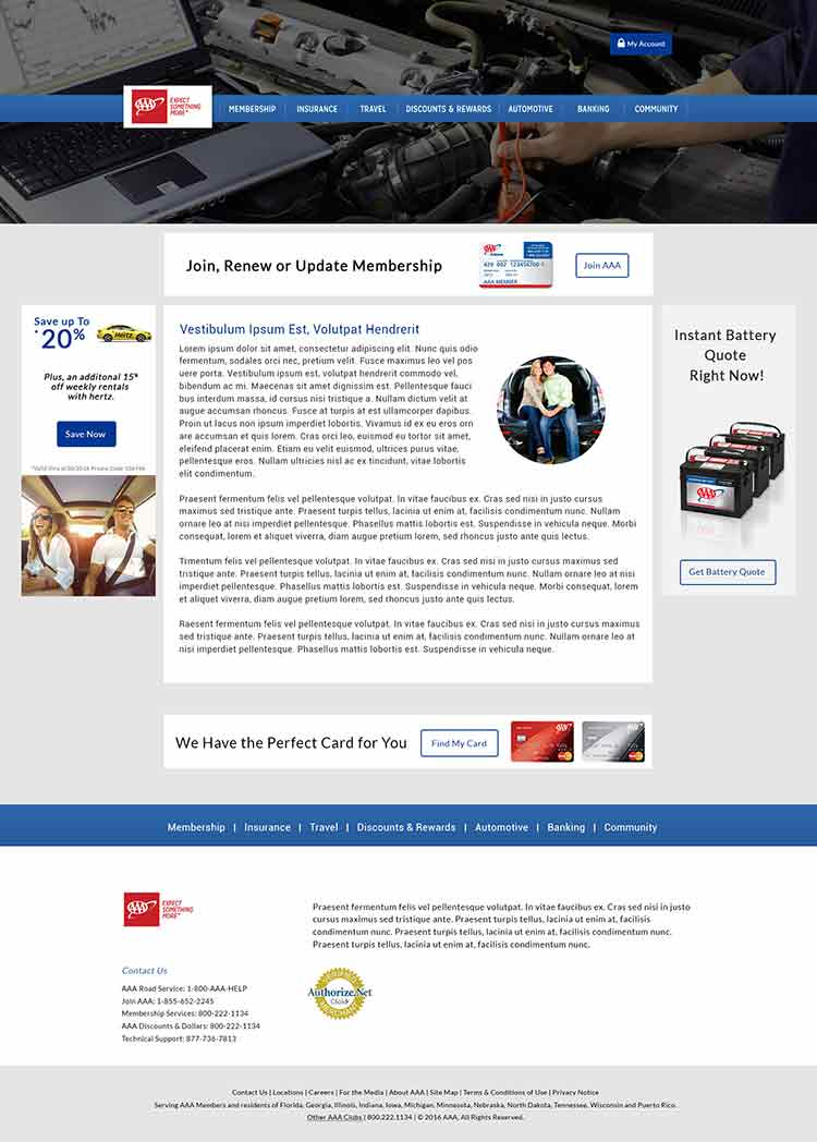AAA webpage screenshot