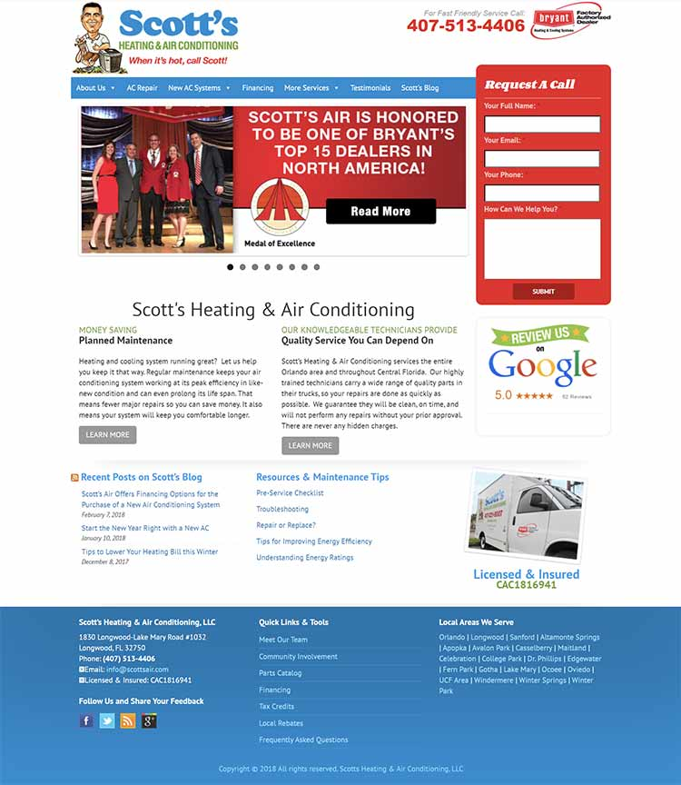 Scotts Air old website screenshot