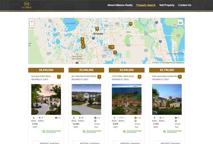 Alliance Realty Property Search Screenshot