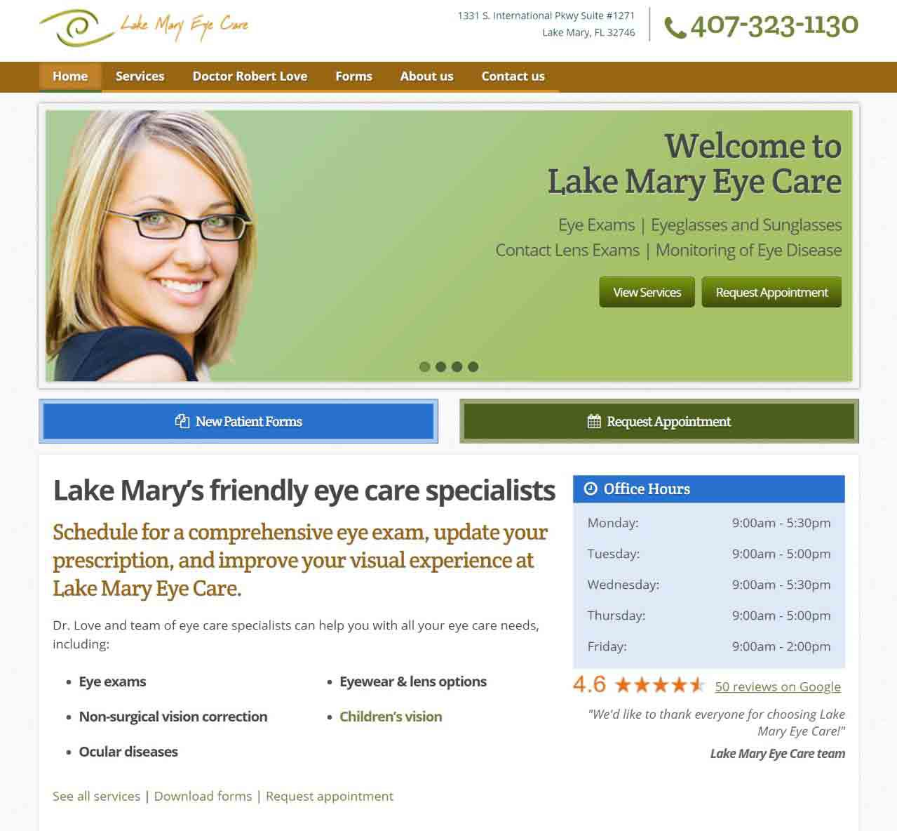 Lake Mary Eye Care Homepage Screenshot