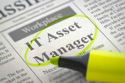 """Related to application security, this image showcases a newspaper snapshot of an article with the title named """"IT Asset Manager"""". The title has been circled by a yellow highlighter."""