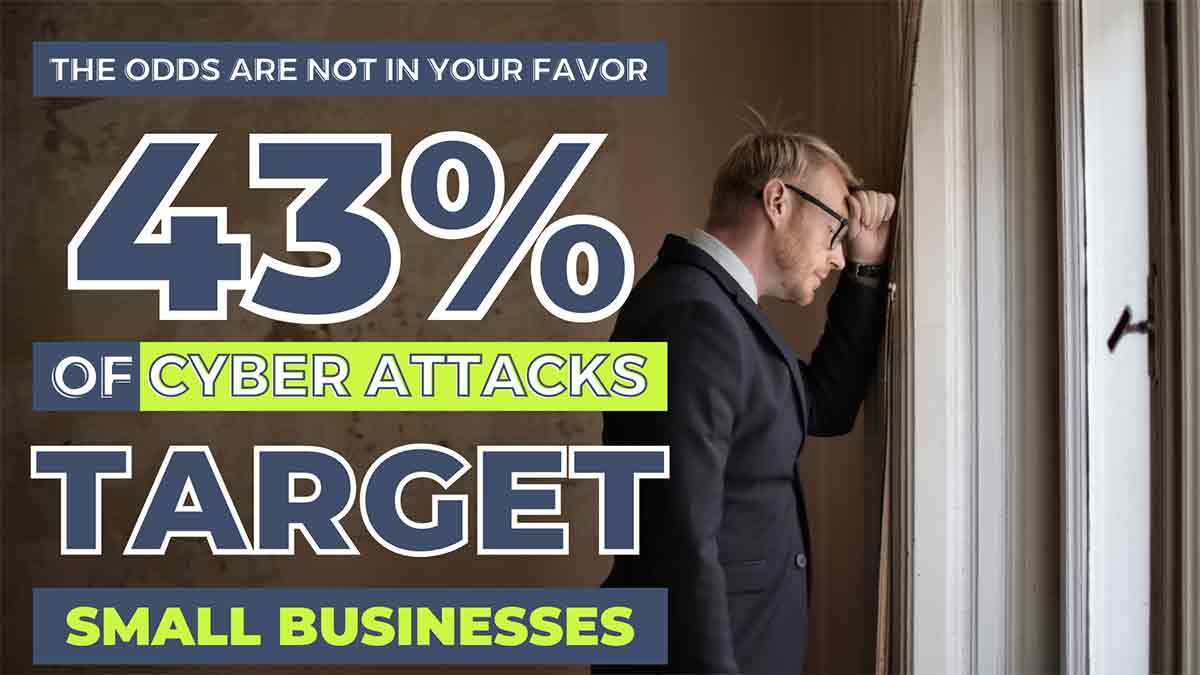 """an example of repurposed blog content. an infographic with navy blue and lime green lettering stating that """"43% of Cyber Attacks Target Small Business"""""""