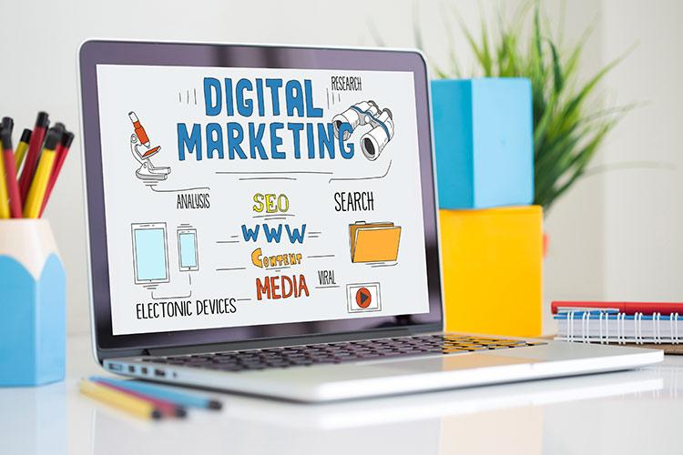 Laptop Saying Digital Marketing