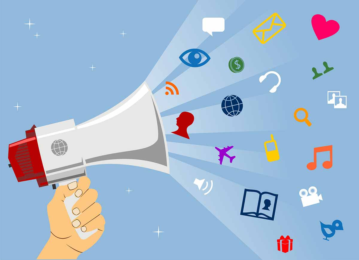 Illustration of person holding a megaphone that's blasting out icons of communication topics, indicating proper use of social media abbreviations and engagement with their following.