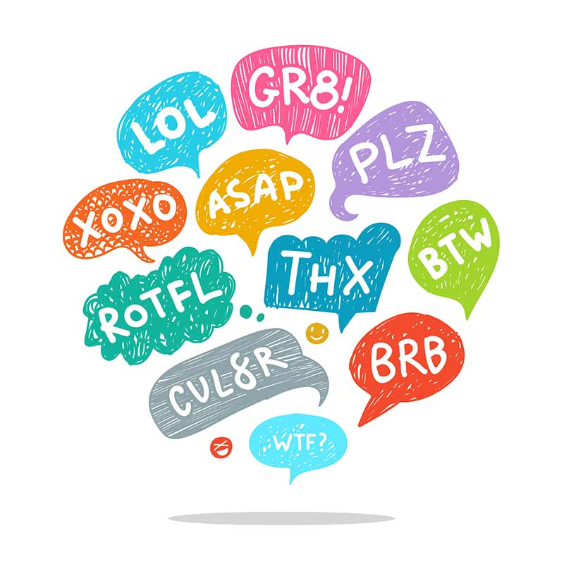 Colorful illustration that shows social media abbreviations written out in thought bubbles.