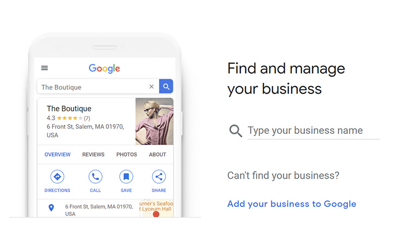 Screengrab of step one in the Google My Business account signup process.