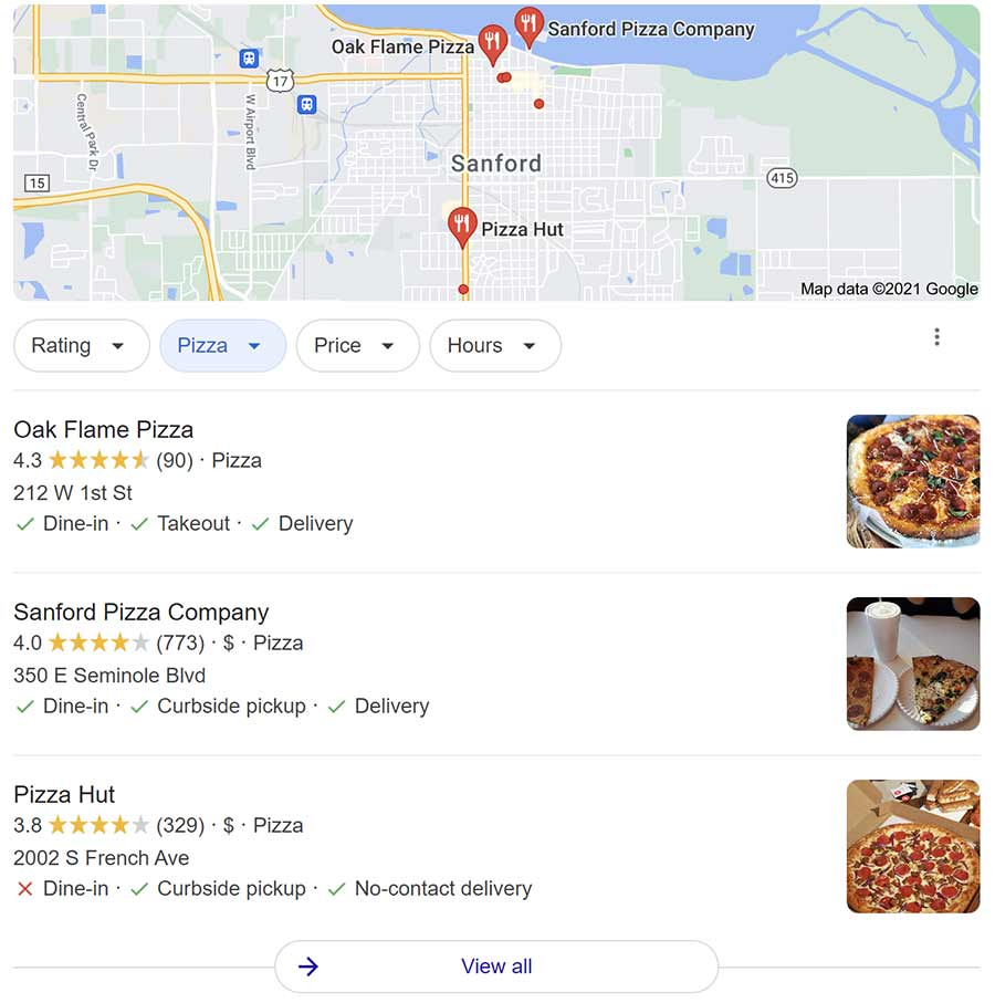 Screengrab of Google My Business local listings for pizza nearby.