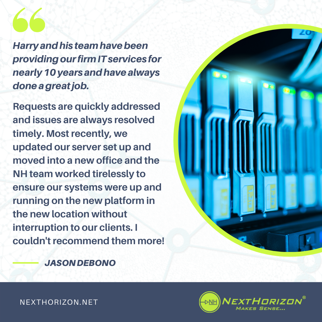an example of review based social media content. It shows a positive review of Next Horizon's IT services