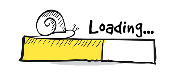 Illustration of a snail crawling on top of a loading bar indicating slow website speed.